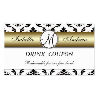 Damask Gold Wedding Free Drink Coupon Card