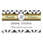 Damask Gold Wedding Free Drink Coupon Card Business Card Template