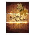 "Damask Golden Leaves Fall Wedding invitation 5"" X 7"" Invitation Card"