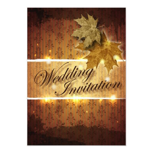 Damask Golden Leaves Fall Wedding invitation