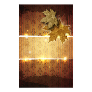 Damask Golden Leaves Fall Wedding Stationery