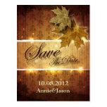 Damask Golden Leaves glamorous Fall Wedding Postcard
