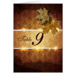 Damask Golden Leaves Wedding Table Number Card