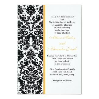 Damask Golden Yellow accent Wedding Invitation