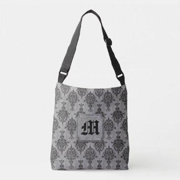 linda_mn Damask Gothic Black on Gray Monogram Crossbody Bag