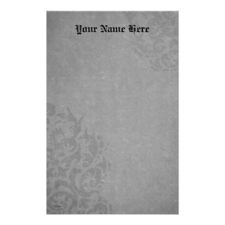 Damask Gothic  Gray Scrolls Stationery