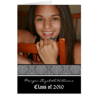 Damask Graduation Announcement in YOUR COLOR Card