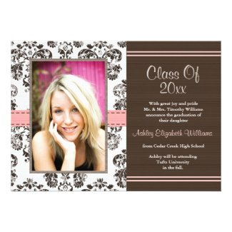 Damask Graduation Photo Announcement Invitations P