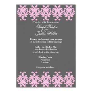 Damask Gray and Pink Wedding invitation