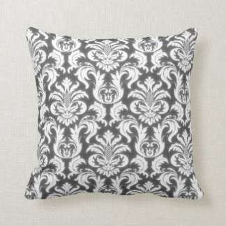 Damask Gray White Elegant Velvet Effect Throw Pillow