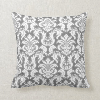 Damask Gray White Elegant Velvet Lux Throw Pillow