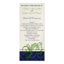 damask green and navy Wedding program