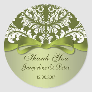 Damask green and white Thank you Wedding Classic Round Sticker