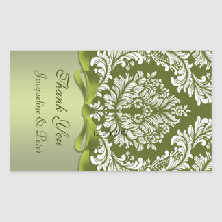 Damask green and white Thank you Wedding Sticker