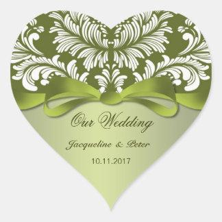 Damask green and white Wedding Heart Sticker