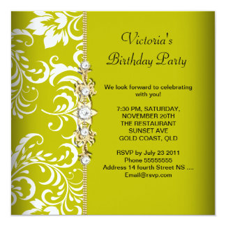 Damask Green Avocado White Birthday Party Gold 5.25x5.25 Square Paper Invitation Card