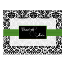 damask green ,black and white  Save the Date Postcard