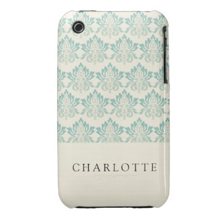 Damask Green Cream Case-Mate iPhone 3 Cases