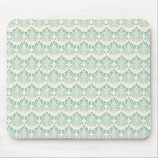 Damask Green Cream Mouse Pad