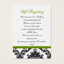 damask green Gift registry  Cards