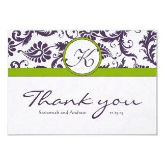 Damask Green & Lapis Purple Wedding Thank You 3.5x5 Paper Invitation Card