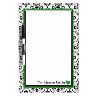 Damask Green Personalized Dry-Erase Board