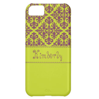 Damask Green & Purple Case For iPhone 5C