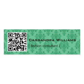 Damask Green QR CODE Mini Business Cards
