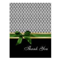 damask green  ribbon ThankYou Cards