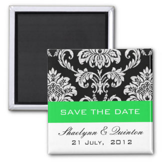 Damask Green Save the Date Wedding Announcement 2 Inch Square Magnet