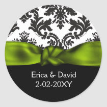 damask green wedding classic round sticker