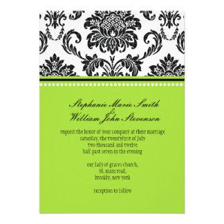 Damask Green Wedding Invitation