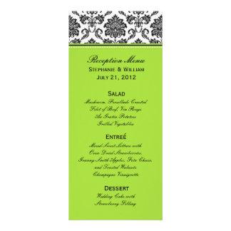 Damask Green Wedding Menu Rack Card