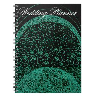 Damask Green Wedding Planner Notebooks