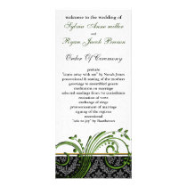 damask green Wedding program