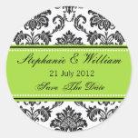 Damask Green Wedding Sticker