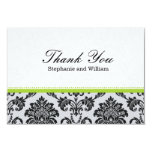 Damask Green Wedding Thank You Card