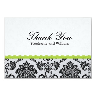 Damask Green Wedding Thank You Card