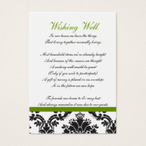 damask green wishing well cards