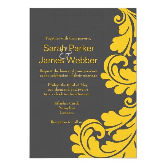 Damask grey and yellow Modern Wedding invitations