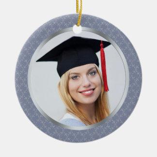 Damask grey blue Graduation photo Ornament