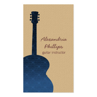 Damask Guitar Music Business Card, Blue