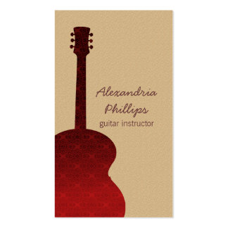 Damask Guitar Music Business Card, Red Double-Sided Standard Business Cards (Pack Of 100)