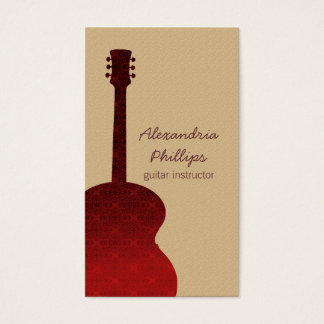 Damask Guitar Music Business Card, Red Business Card