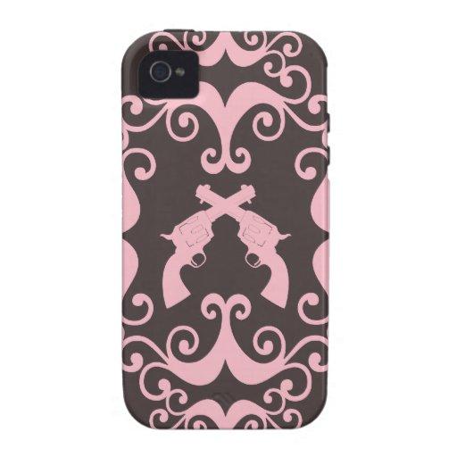 Damask guns grunge western pink goth pattern iPhone 4 covers