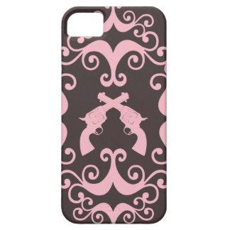 Damask guns grunge western pink goth pattern iPhone SE/5/5s case