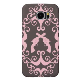 Damask guns grunge western pink goth pattern samsung galaxy s6 case
