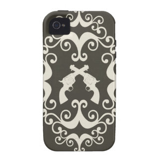 Damask guns grunge western pistols revolvers case Case-Mate iPhone 4 covers