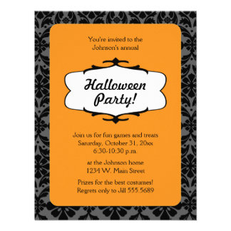 Damask Halloween Party Invitation