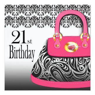 Damask Handbag Paisley Purse 21st Birthday Card